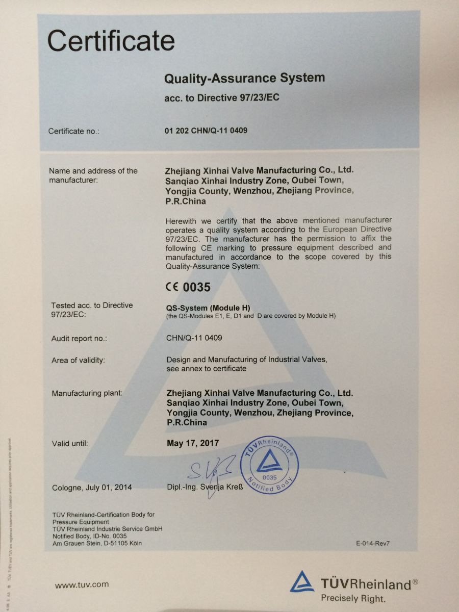 Quality Assurance System CE 0035 Certificate