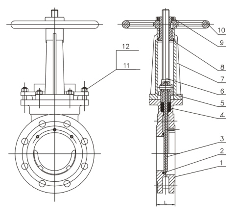 Drawing Knife Gate Valves